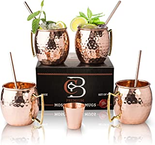 Moscow Mule Copper Mugs - Set of 4 - 100% HANDCRAFTED Pure Solid Copper Mugs - 16 Oz Gift Set with Highest Quality Cocktail Copper Straws, Copper Shot Glass & 2 E-Books by Copper-Bar