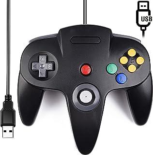 Classic N64 Controller, SAFFUN N64 Wired USB PC Game pad Joystick, N64 Bit USB Wired Game Stick Joy pad Controller for Windows PC MAC Linux Raspberry Pi 3 Genesis Higan (Black)