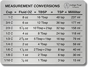 Measurement Conversion Chart Refrigerator Magnet - ORIGINAL DESIGN Stainless Steel | Conversions For Cups, Fluid Oz, Table...