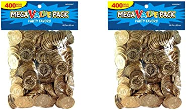 Amscan 400 Count Novelty Plastic Gold Coins - 2 Pack Bundle (800 Coins Total)