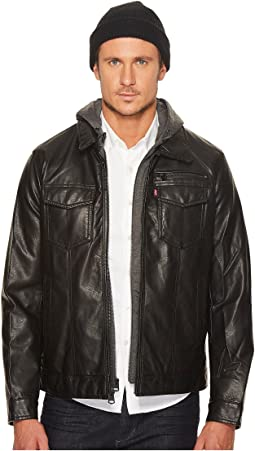 Levi's® - Faux Leather Trucker with Jersey Hood and Fleece Lining