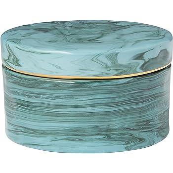 Amazon Brand – Rivet Mid Century Modern Decorative Marble Jewelry Box - 4 x 2 Inch, Blue