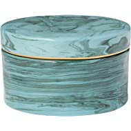 Rivet Mid Century Modern Decorative Marble Jewelry Box - 4 x 2 Inch, Blue