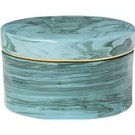 Rivet Mid Century Modern Decorative Marble Jewelry Box - 4 x 2 Inch, Blue