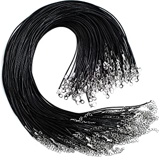 Bastex 100 pieces of Waxed Necklace Cord with Clasp. Perfect for Bracelet, Necklace and DIY Jewelry Making. 20 Inches long, 1.5mm Thickness. Single Color Black Bulk