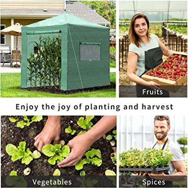 Outsunny 8' x 8' x 8' Portable Pop-up Walk-in Greenhouse with Roll-up Door & 2 Windows for Growing Flowers, H