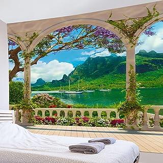 LB 風景画タペストリー 海景 バルコニー おしゃれ壁掛け 緑の山 装飾布 インテリア ホーム装飾品 モダン 多機能 部屋 窓 個性ギフト 新居祝い 150x100cm