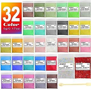 JEMESI Poudre de Mica, Colorant de Savon 32 Couleurs (5g), Pigments Résine Époxy Poudre en Mica + Paillettes Glitter pour ...