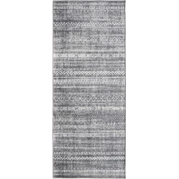 "ReaLife Machine Washable Rug - Stain Resistant, Non-Shed - Eco-Friendly, Non-Slip, Family & Pet Friendly - Made from Premium Recycled Fibers - Moroccan Stripe - Gray, 2'6"" x 6'"