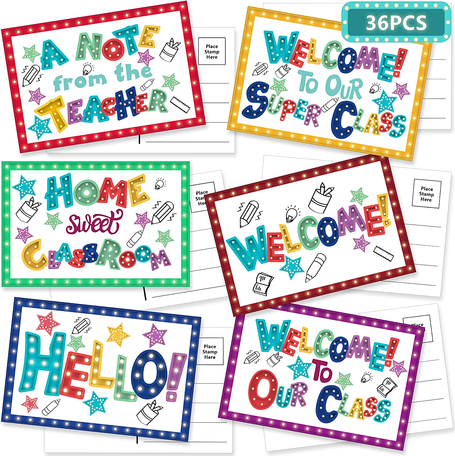 codree 36 Pieces New popularity Marquee Welcome Postcards safety t 6 4 x Inch