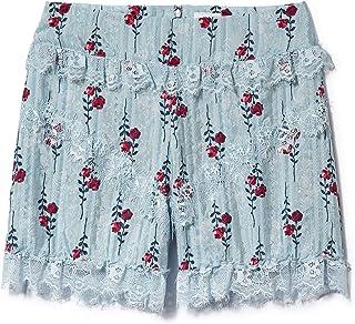 Anna Sui Women'S Cornflower Long Stem Roses Lace Trim Shorts