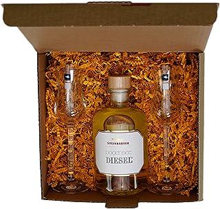 Geschenkset Steinhauser Bodensee DIESEL - der Obstbrand aus Golden Delicious Äpfeln in der Apothekerflasche plus 2 Original Leonardo Branntwein Gläsern
