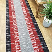 Runner Rug 2x7 Red Border Stripe Kitchen Rugs and mats | Rubber Backed Non Skid Living Room Bathroom Nursery Home Decor Under Door Entryway Floor Non Slip Washable | Made in Europe