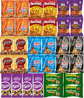 Snack Pack Care Package - Party Mix Snack Mix Chex Mix Individual Packs Bulk Christmas Assortment (32 Pack)