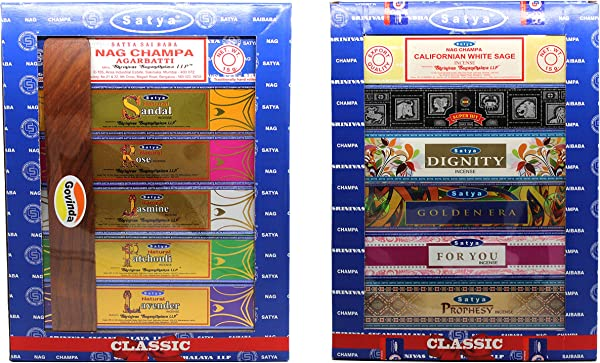 Govinda Set Of 12 Nag Champa Natural Sandal Rose Jasmine Patchouli Lavender California White Sage Super Hit Dignity Golden Era For You Prophesy Incense Holder By Satya