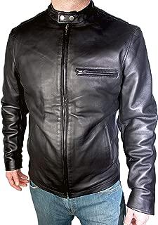Black Leather Jacket for Men - Cafe Racer Motorcycle Jacket Genuine Leather Mens Jacket