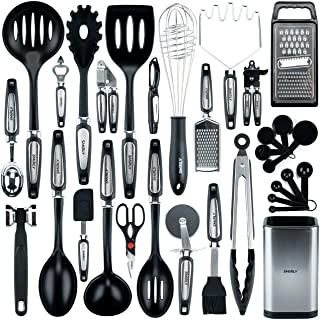Smirly Silicone Kitchen Utensils Set with Holder: Silicone Cooking Utensils Set for Nonstick Cookware, Kitchen Tools Set, ...
