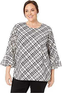 Plus Size Plaid Flocked Flare Sleeve Top