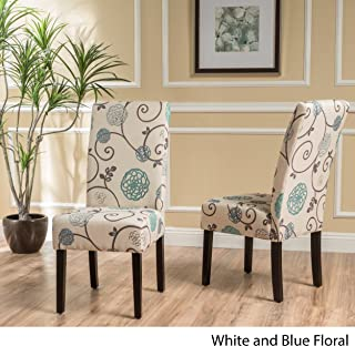 Christopher Knight Home 299448 Pertica Dining Chair Set, White/Blue Floral