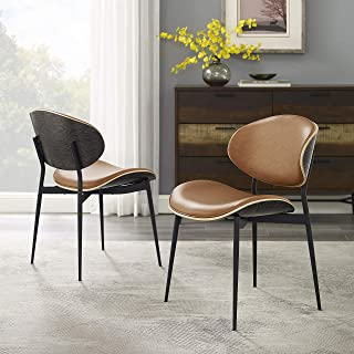 Art Leon Set of 2 Mid Century Modern Retro Faux Leather Upholstered Kitchen Dining Chair with Metal Legs & Bent Wood Accent Side Chair for Home Living Room Bedroom Office (Brown)