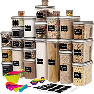 LARGEST Set of 52 Pc Food Storage Containers (26 Container Set) Shazo Airtight Dry Food Space Saver w Interchangeable Lid,...