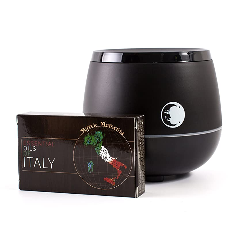 作者郵便屋さん自慢Mystic Moments | Black Aromatherapy Oil Ultrasonic Diffuser With Bluetooth Speaker & LED Lights + Essential Oils Of Italy Essential Oil Gift Pack