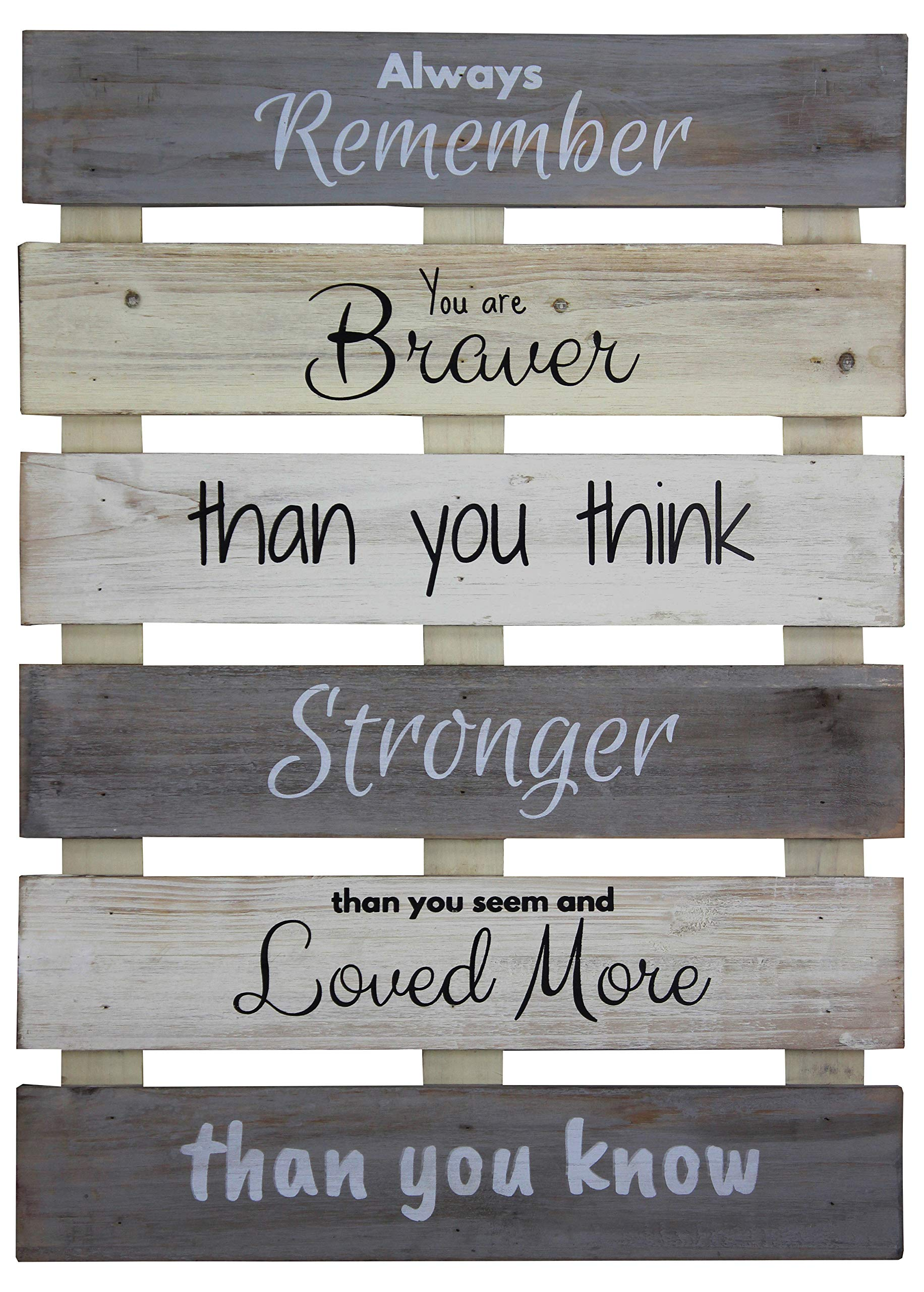 Vintage Rustic Farmhouse Wall Home Decor Sign For Kitchen Living Room Dining Room Bedroom Or Bathroom Always Remember Braver Stronger Loved Wood Pallet Skid Barnwood Color Decorative Wall Plaque Buy Online