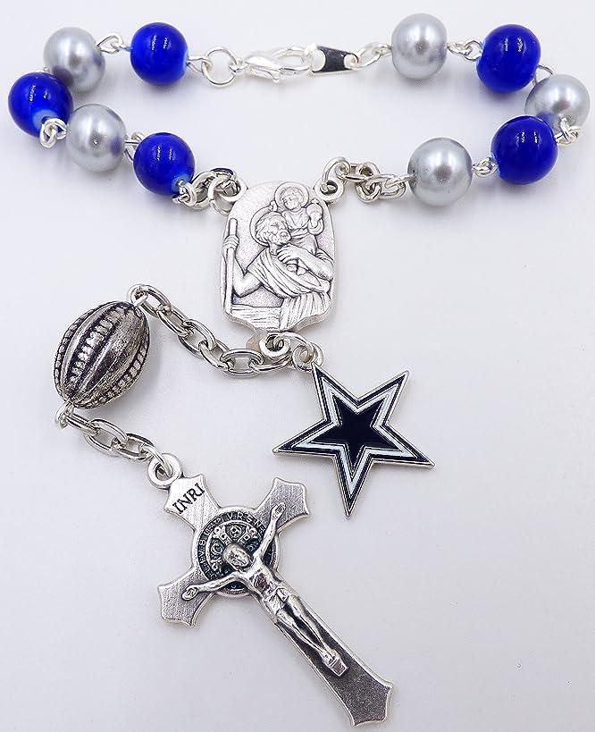 Single Decade St. Christopher Sports Team Auto Rosary - Dallas Pro Football Catholic Rosary Beads