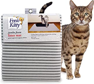Fresh Kitty Soft Jumbo Foam Easy Clean Litter Trapping Mat for Pet Cat Litter Box, Solid Grey