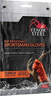 Venom Steel Sportsman Nitrile Gloves with 12 inch Cuff, 6 mil Rip Resistant Field Dressing Gloves, One Size Fits Most (12 Count), Great for use as Game Cleaning Gloves, Fishing, Hunting, Camping