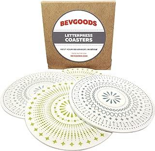 BevGoods Set of 6 Letterpress Absorbent Pulpboard Paper Coasters in 2 Designs