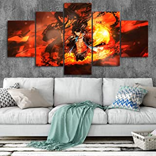 Portgas·D· Ace ONE Piece Canvas Posters Home Decor Wall Art Framework 5 Pieces Paintings for Living Room HD Prints Movie Car Pictures