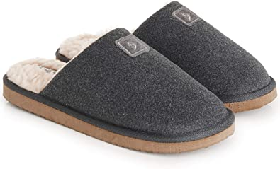 Dunlop Mens Slippers Open Back, Comfy Memory Foam Men Slippers with Rubber Sole, Indoor Outdoor Anti Slip House Shoes Comfort Plush, Gifts for Men