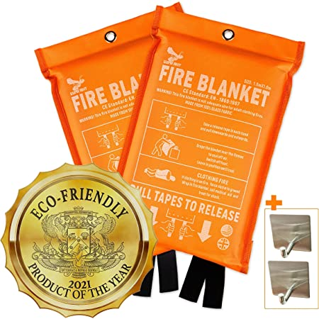 Supa Ant Eco-Friendly (1500֯F) Fire Blanket, High Visibility CE Certified Emergency Fire Blanket for Home, Kitchen, Car, Van, RV, Office, Reusable (39.3x39.3 in) (2 Fire Blankets + 2Hooks)