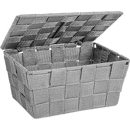 Wenko 22793100 Corbeille SDB a. couvercle Adria, gris, Polypropylène, 19 x 14 x 9,5 cm