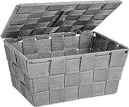 WENKO Kosz do przechowywania z pokrywką Adria szary – kosz łazienkowy, kosz kuchenny, polipropylen, 19 x 10 x 14 cm, szary