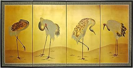Oriental Furniture Gold Leaf Cranes