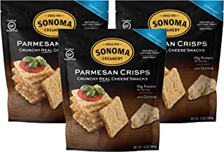 Sonoma Creamery Cheese Crisps - Parmesan 3 Count Pack Savory Cheese Cracker Snack High Protein Low Carb Gluten Free Wheat Free (10 Ounce (3 Count) ea.)