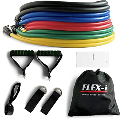 FLEX-i® Resistance Bands Set – Stackable Resistance Tubes – Exercise Resistance Bands with Handles, Ankle Straps, Door Anchor, Travel Bag, User Manual for Resistance Training, Exercise, Workout, Fitness, Sports and Home Gym, for Men and Women