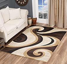 Glory Rugs Modern Area Rug 4x6 Swirls Carpet Bedroom Living Room Contemporary Dining Accent Sevilla Collection 4817A (Brown)