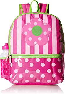 """Pink Platinum Dots & Stripes 16"""" Backpack with Lunch Kit and Water Bottle, Pink (Pink) - PNK-BP-12-R2"""