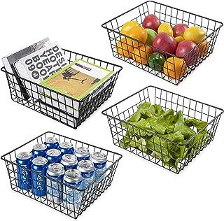 Vtopmart Lot de 4 paniers de rangement en fil métallique avec poignées, grands paniers pour placards de cuisine, salle de ...