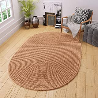 Super Area Rugs Maui Braided Rug Indoor Outdoor Rug Washable Reversible Neutral Patio Porch Kitchen Carpet, 4' X 6' Oval