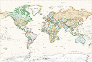 Academia Maps Large 53 x 36 Executive World Map Wall Decal | Easy to Hang Wallpaper Stick and Peel | Wall Map of The Worl...