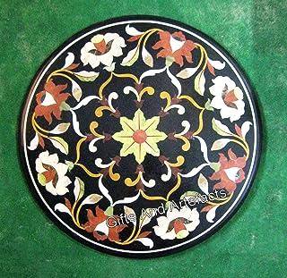 Gifts And Artefacts - Mesa redonda de mármol negro con incrustaciones de piedras preciosas de varios colores para manualid...