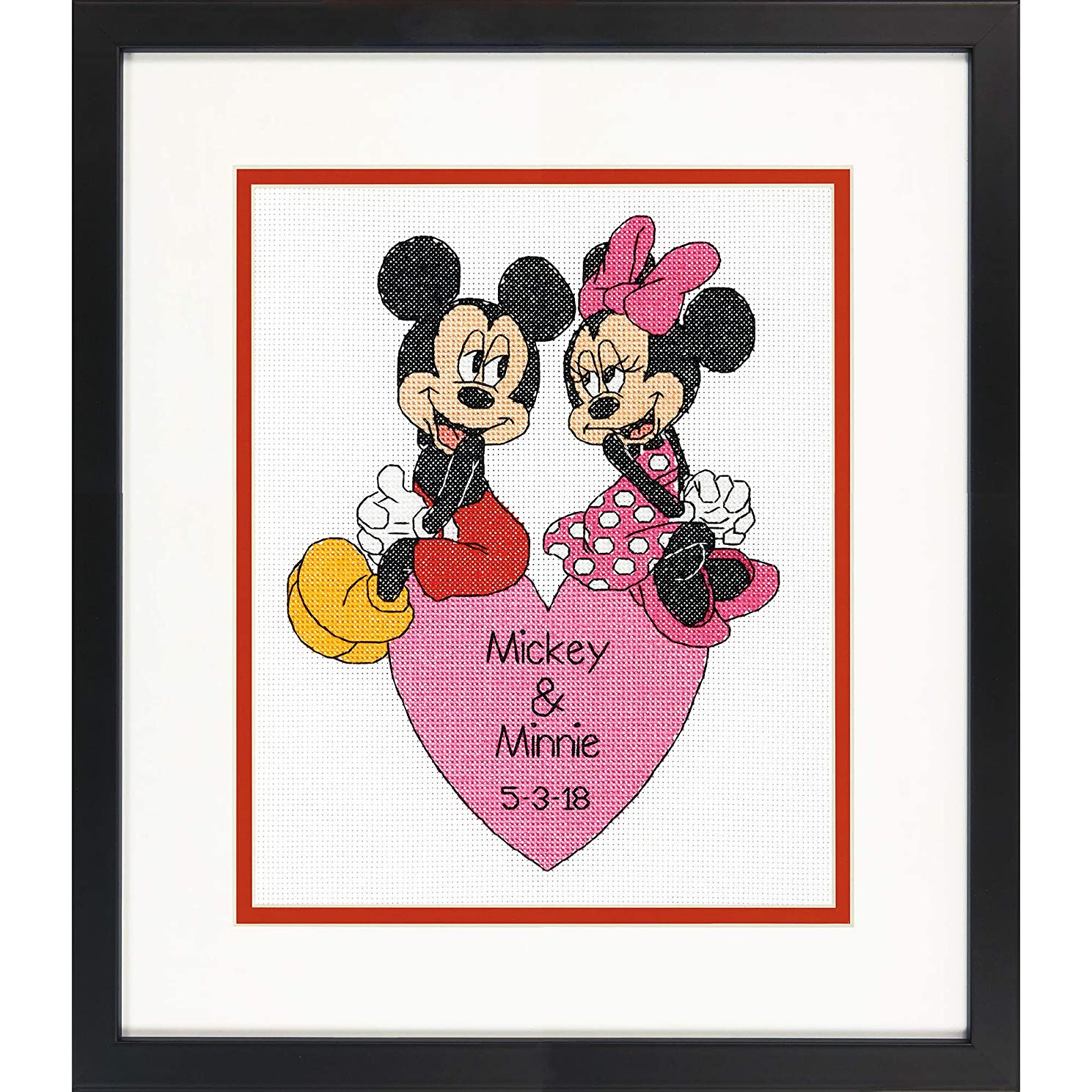 Dimensions Mickey Mouse and Minnie Mouse Wedding Record Counted Cross Stitch for Beginners, 14 Count White Aida Cloth, 8'' x 10''