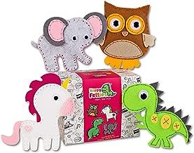 Happy Felties Pack # 1 - Felt Animal Crafting Sewing Kit and Animal Crafts - Fun DIY Stuffed Animal Sew Kits for Kids Boys and Girls - Beginner Friendly