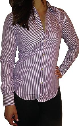 Polo Ralph Lauren   Mujer Blusa – Slim Fit   Lila Rayas ...