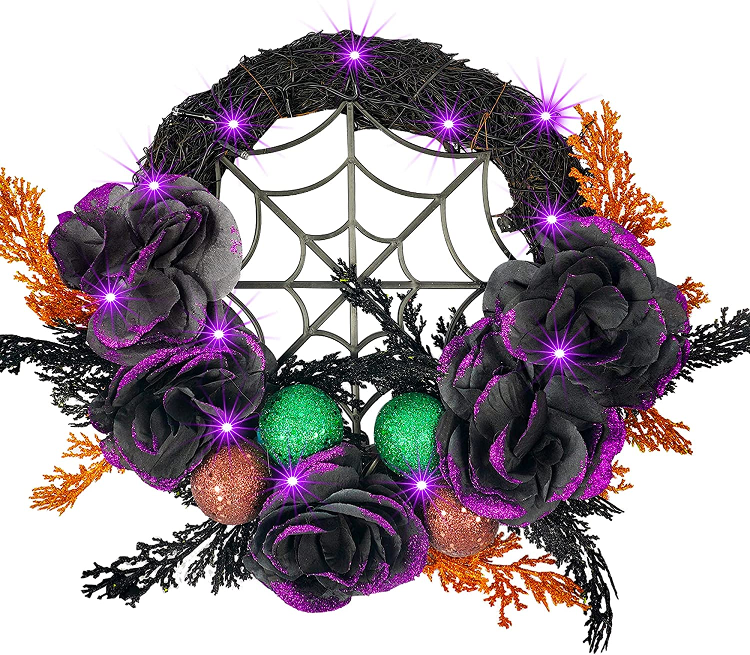 NEROSUN Halloween Wreath for Front Door Decor, 20 LED Light Up Halloween Decorations with Artificial Rose and Ball Purple Lights for Outside Decor