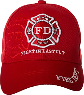 b145f27877433 Artisan Owl Fire Department First in Last Out Cap - Firefighter Gift -100%  Cotton